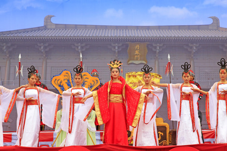 tang: Luannan County - September 29: Ancient Chinese court life Show in the street, Luannan County, Hebei, China, September 29, 2015.