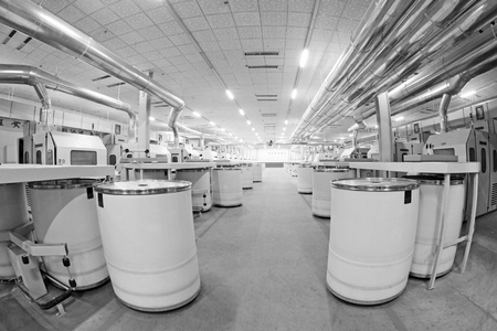 standardization: LUANNAN COUNTY - DECEMBER 20: The combed cotton production line and pipes in the ZeAo spinning LTD., on December 20, 2013, Luannan county, hebei province, China.