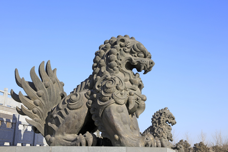 hebei: Tangshan - on January 31: giant lion sculptures under blue sky, on January 31, 2016, tangshan city, hebei province, China