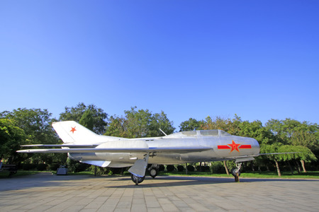 Chinese air retired fighter jets in a park