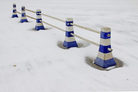 Roadblocks in the snow Stock Photo