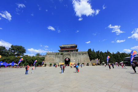 tourist site: tourists in the Shanhaiguan ancient city square, China Editorial