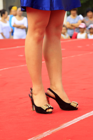 High heels on the red carpet Stock Photo