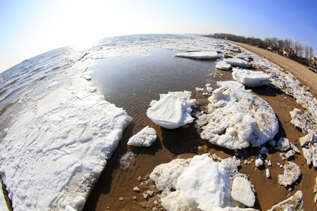 edge of the ice: sea ice natural scenery in winter, closeup of photo
