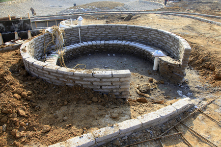 assembled: Unfinished circular building Stock Photo