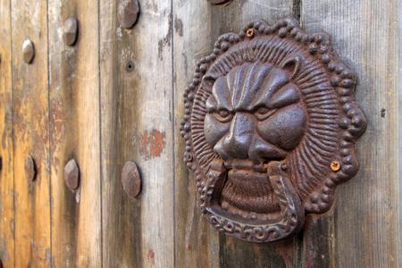 metal beast heads on the door plank