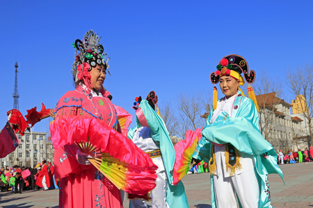 Luannan County- February 18: Chinese traditional style yangko folk dance performance in the street, on February 18, 2016, luannan County, hebei Province, China Editorial