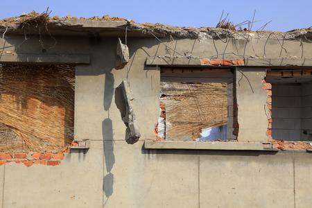 Broken houses under demolish process