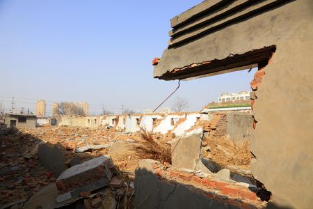 Broken walls in a demolition field