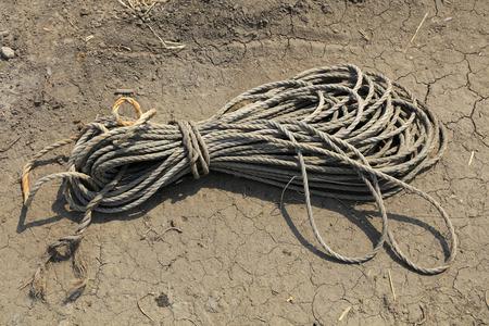 Nylon ropes on the ground
