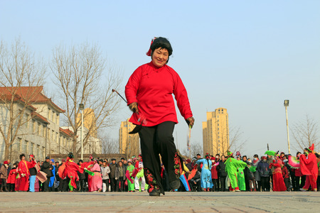 Luannan County- February 22: Chinese traditional style yangko folk dance performance in the street, on February 22, 2016, luannan County, hebei Province, China    Editorial