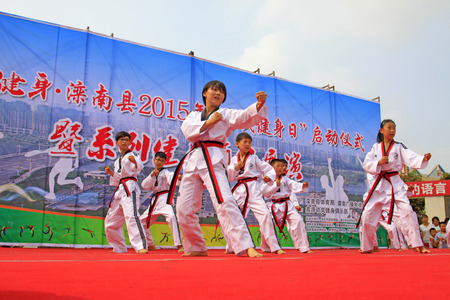Luannan County - August 7: Kick cardiac operation performance on the stage, on August 7, 2015, luannan county, hebei province, China