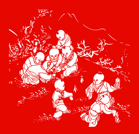 traditional Chinese paper-cut works, closeup of photo Editorial