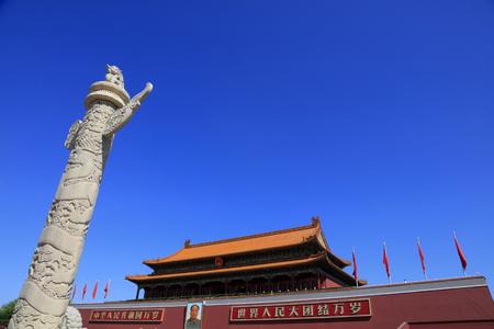 Beijing Tiananmen Gate Tower and Ornamental column Editorial