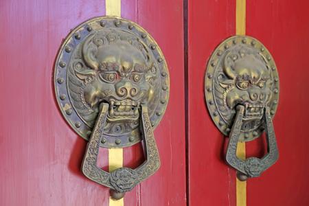 Red door bronze animal Head Knocker