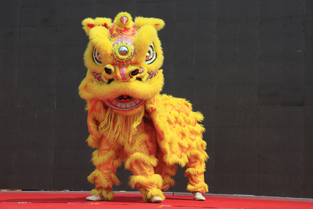 Luannan County - June 16, 2016: Chinese traditional lion dance performance at the temple fair, Luannan County, Hebei Province, China 에디토리얼