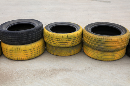 Automobile tires in karting in a park Editorial