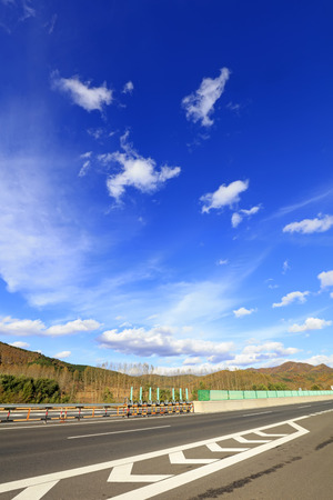 freeway under the blue sky   Stock Photo