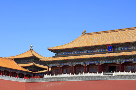 glazed tile roof of the Imperial Palace, Beijing, China    Editorial