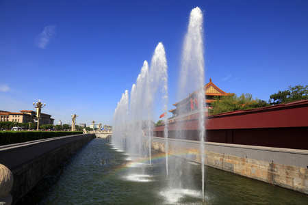 Tiananmen city building and fountain in Beijing Editorial
