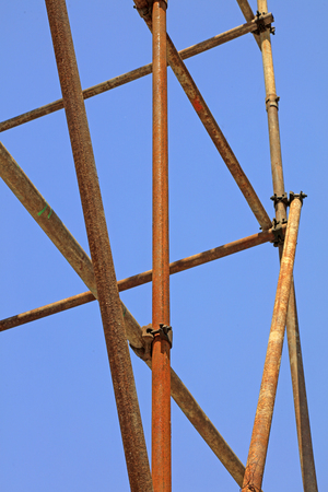 Steel pipe scaffold Stock Photo