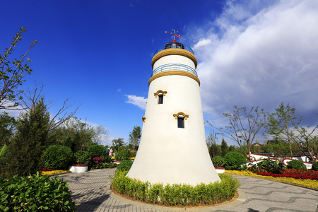 Macao Guia Lighthouse miniature landscape in a park   Stock Photo