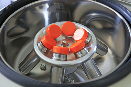 Stainless steel centrifuge, closeup of photo Stock Photo
