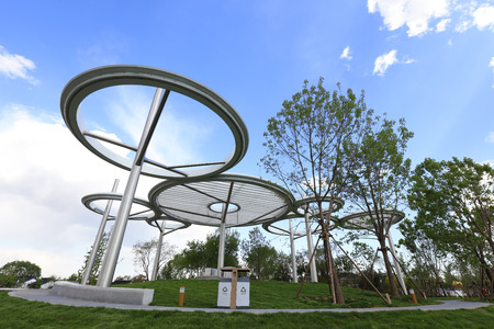 stainless steel architectural landscape in a park   Stock Photo
