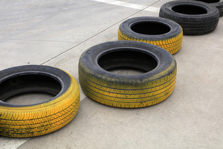 Automobile tires in karting in a park Editöryel