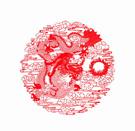 traditional Chinese paper-cut works, closeup of photo Foto de archivo