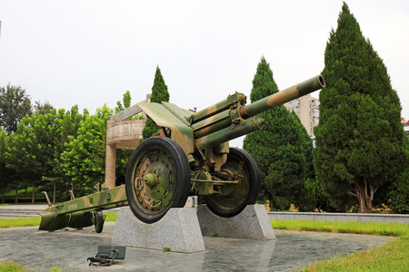 Heavy weapons display in a memorial park Editorial