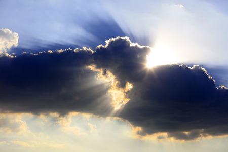 The sun and dark clouds Stockfoto