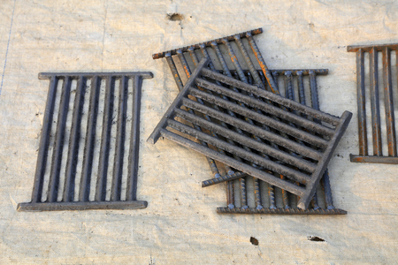 iron grate in the booth Stock Photo