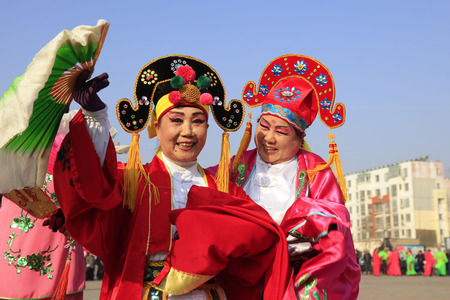 Luannan County - February 23, 2018: Yangge Dance Performance on the square, Luannan County, Hebei Province, China.