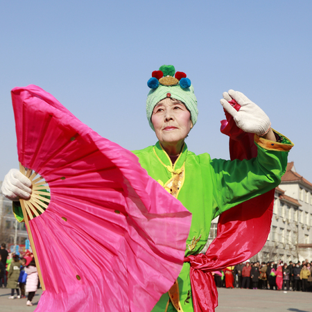 Luannan County - February 25, 2018: Yangge Dance Performance on the square, Luannan County, Hebei Province, China. 報道画像