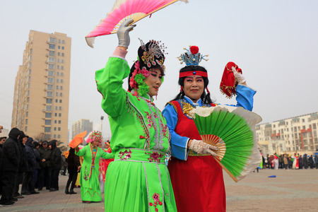 Luannan County - February 27, 2018: Yangge Dance Performance on the square, Luannan County, Hebei Province, China. Editorial