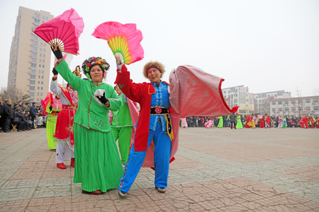 Luannan County - March 3, 2018: Yangge Dance Performance on the square, Luannan County, Hebei Province, China.