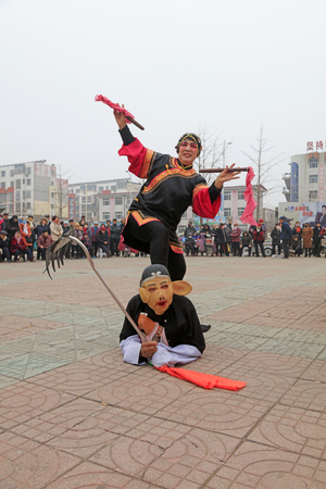 Luannan County - March 3, 2018: Yangge Dance Performance on the square, Luannan County, Hebei Province, China. Stock Photo - 119172073