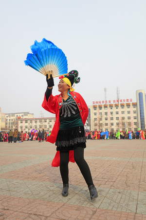 Luannan County - February 27, 2018: Yangge Dance Performance on the square, Luannan County, Hebei Province, China. 報道画像