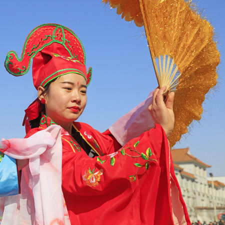 Luannan County - February 25, 2018: Yangge Dance Performance on the square, Luannan County, Hebei Province, China. Editorial