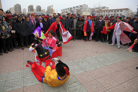 Luannan County - March 4, 2018: Yangge Dance Performance on the square, Luannan County, Hebei Province, China. Editorial