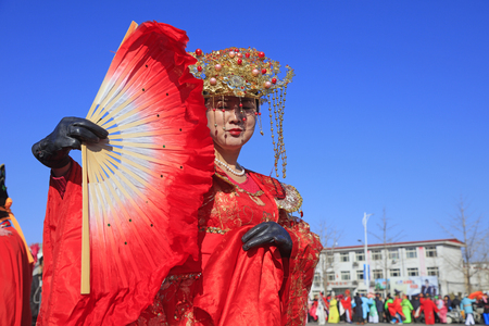 Luannan County - March 1, 2018: Yangge Dance Performance on the square, Luannan County, Hebei Province, China. Editorial