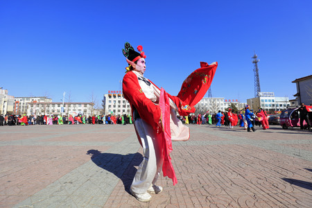 Luannan County - March 1, 2018: Yangge Dance Performance on the square, Luannan County, Hebei Province, China. 報道画像
