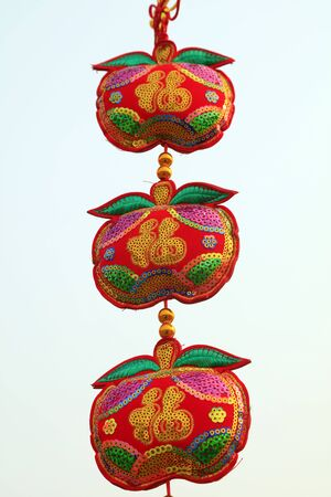 Red apple fabric decoration 스톡 콘텐츠