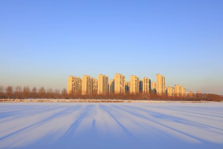 City snow scenery in northern China 写真素材