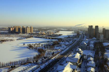 City snow scenery in northern China 報道画像