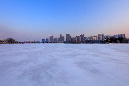 Urban buildings in the snow, China 写真素材