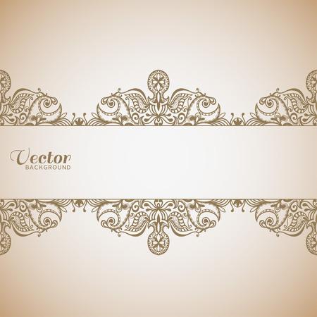 Bruiloft uitnodiging of wenskaart ontwerp met kant patroon, sier vector illustratie. Stock Illustratie
