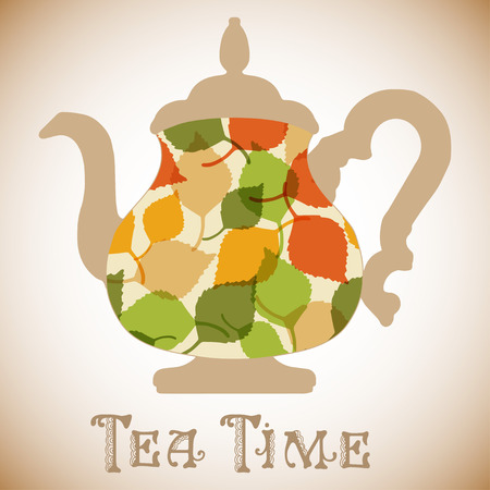 Vector teapot with leaves pattern. Tea time fashion illustration Vector