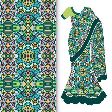 sari: Decorative stylized Indian sari womens ethnic dress with seamless ornamental pattern.